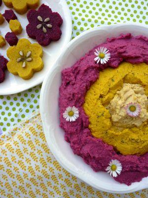 Recette Polenta aux épices et houmous colorés
