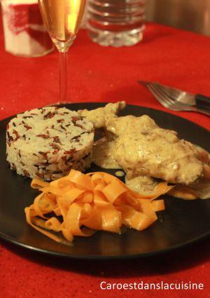 Recette Lapin à la moutarde d'Alain Ducasse, riz 3 couleurs et tagliatelle de carottes