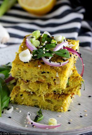 Recette Frittata vegan courgettes & oignons rouges (sans gluten)