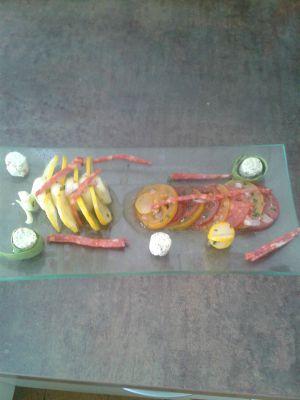 Recette Salade de tomates et courgettes de différentes couleurs