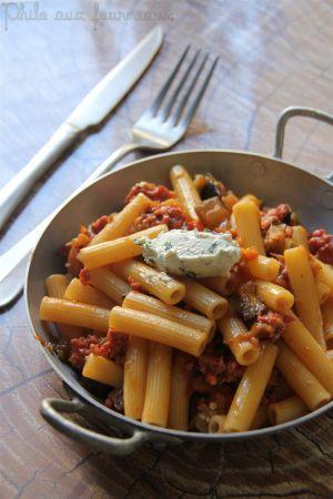 Recette Penne à la saucisse & à l'aubergine