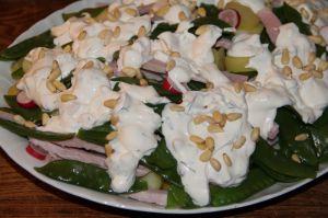 Recette Salade de rattes aux pois gourmands, jambon blanc et radis roses