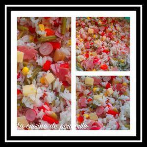 Recette Salade de riz au radis rose, haricots, gruyère, oeufs, jambon et maïs