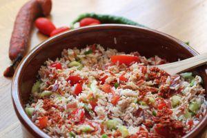 Recette Salade de riz au thon, vinaigrette au chorizo