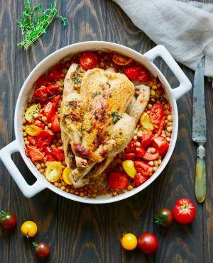 Recette Poulet rôti pois chiches et tomates
