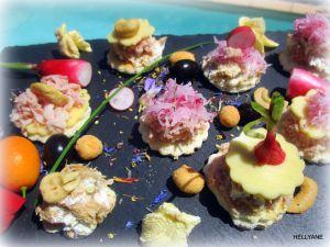 """Recette Mini bouchées - amuse-bouches """"fromage thon"""" ou un jambon beurre revisité"""