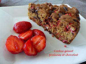 Recette Cookie géant pralines et chocolat