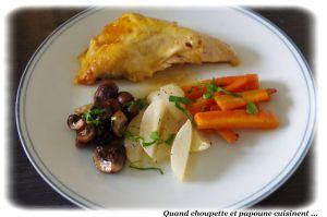 Recette Pintade au four, champignons bruns, carottes et navets