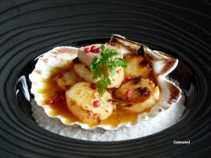 Recette Coquilles de st-jacques poelees, sauce au foie gras