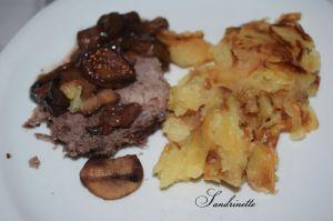 Recette Rôti de bœuf aux figues et aux champignons