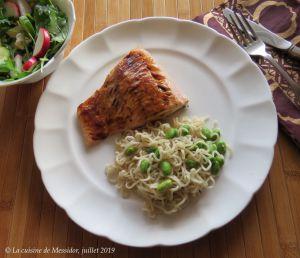 Recette Filets de saumon laqués et nouilles ramen +