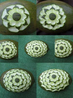 Recette Sculpture sur melon (technique de la gouge striée)