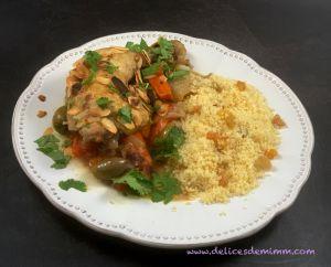 Recette Tajine de poulet aux olives et aux amandes